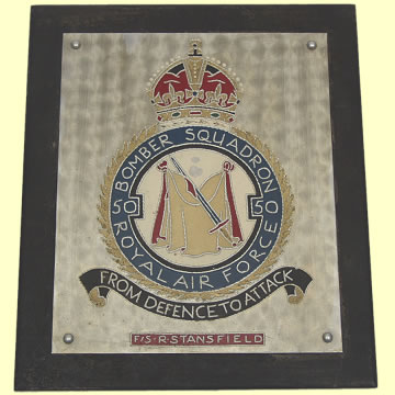 Trench Art Plaque named to 50 Bomber Squadron - Click for the bigger picture
