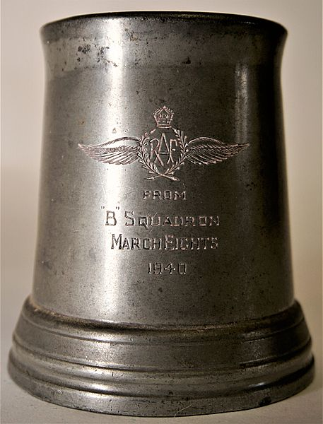 RAF 'B' Squadron Presentation Tankard 1940 with possible CUAS Connections - Click for the bigger picture
