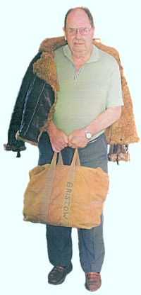W/O J.R. Bristow reunited with his wartime Irvin jacket and parachute bag, July 2002