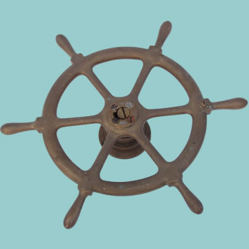 Ship's 6 Spoke Wheel in Solid Brass - Click for the bigger picture