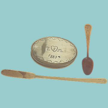 19th Century Scrimshaw Ditty Box and Spoons - Click for the bigger picture