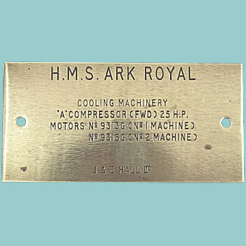 HMS Ark Royal Brass Plaque - Click for the bigger picture