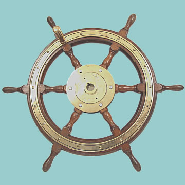 Fine 6 Spoke Ship\'s Wheel - Click for the bigger picture