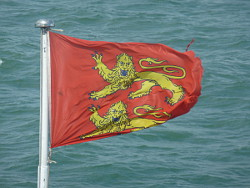 The Arms of William the Conqueror fly freely off Normandy today
