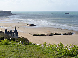 Remains of Mulberry Harbour on Gold Beach, Arromanches